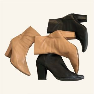 BY FAR Niki Black Heeled Leather Ankle Boots 41